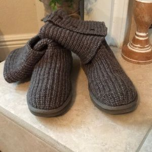 UGG Gray Cardy 3 Button Knit High Boots